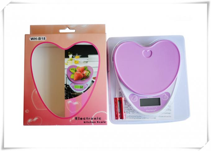 Heart Shape Portable Food Scale , Strain Gauge Sensor Kitchen Weight Scale