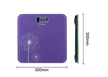 China Dandelion Pattern Electronic Bathroom Scales With Purple Square Shape supplier